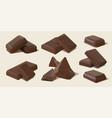 realistic dark and milk chocolate bar pieces vector image