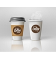 Realistic paper coffee cup set vector image vector image