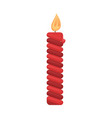 red burning isolated candle with fire christmas vector image vector image