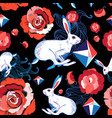 seamless bright pattern jumping hares vector image