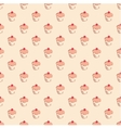 Seamless pattern little cherry cupcake background vector image vector image