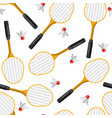 seamless pattern with badminton rackets and vector image