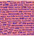 seamless pattern with words on the rapper theme vector image vector image
