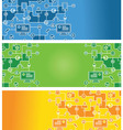 Set of abstract banners with social media icons vector image