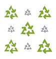 Set of hand-painted recycle signs isolated on vector image