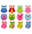 Set of twelve colourful cartoon owls vector image vector image