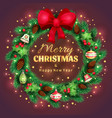 shiny spruce christmas wreath with a golden text vector image