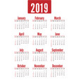 simple vertical red calendar layout for 2019 years vector image