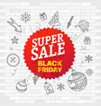 super sale concept white brick wall and graffiti vector image vector image