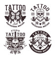 tattoo studio set four vintage emblems vector image