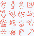 Thin line winter and Christmas time icons set vector image vector image