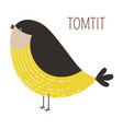 tomtit wild bird childish cartoon book character vector image vector image