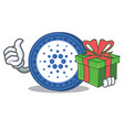 with gift cardano coin character cartoon vector image vector image