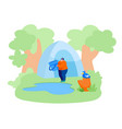 woman stand with bucket near forest pond going to vector image