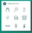 9 glass icons vector image vector image
