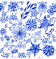 abstract seamless doodle blue flowers pattern vector image
