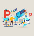 alphabet letter p man presenting project vector image vector image