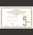 anniversary retro vintage background 5 years vector image vector image