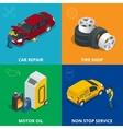Auto mechanic design concept set with car repair vector image vector image
