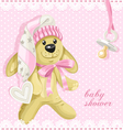 Baby shower card with pink soft toy rabbit vector image vector image