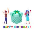 birthday celebration happy partying man and woman vector image vector image