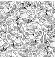 black and white flamingos seamless pattern vector image vector image