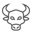 bull line icon animal and zoo vector image