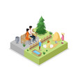 cage with rabbits isometric 3d icon vector image vector image
