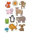 cartoon animals printable set vector image