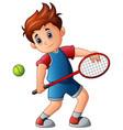 cartoon boy playing tennis vector image vector image