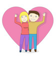 cartoon couple on the background of the heart vector image vector image