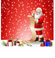 christmas background with santa read reward list vector image