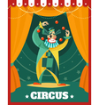 Circus Clown Juggling Performance Poster vector image vector image