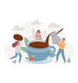coffee break big cup morning hot drink and vector image vector image