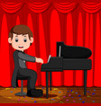 cute boy cartoon playing piano vector image