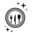 dinner icon with kitchen ware vector image