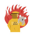 flat a fire fighter rescuing koala vector image vector image