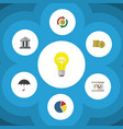 flat icon incoming set of bank diagram cash and vector image vector image