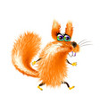 fluffy cartoon squirrel on light background vector image