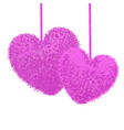 fluffy pom-poms in shape a heart vector image vector image