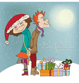 funny couple in the winter vector image