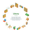 furniture for library 3d banner card circle vector image
