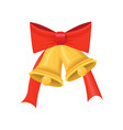 gold christmas glossy bell with big red bow vector image