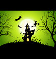 halloween background with whitch and haunted house vector image vector image