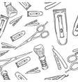 hand drawn retro barbershop seamless pattern vector image vector image