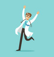 happy doctor character jumping with arms raised vector image