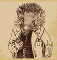 hedgehog dressed up in a jacket with a pipe hand vector image