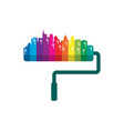 house and city paint logo vector image vector image