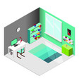isometric designer workplace concept vector image vector image