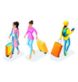 isometric girl in a pink coat with a suitcase vector image vector image